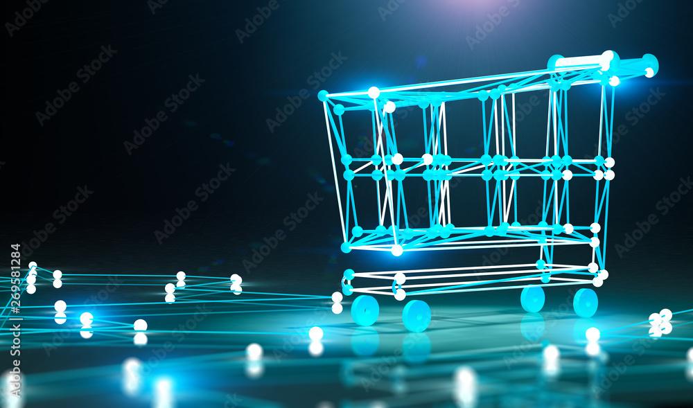 Fototapeta Concepto de compras por internet y carro de la compra.Comercio electronico y electronica