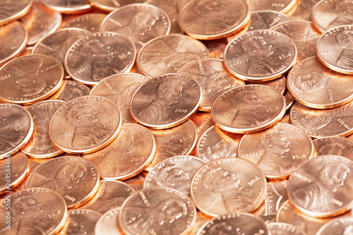 Cuadros en Lienzo Close up of United States coins, pennies