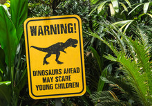 Funny Notice Board Show Dinosaur In Green Forest