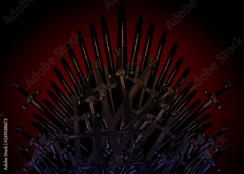 Hand drawn iron throne of the Middle Ages made of antique swords or metal blades Fototapet