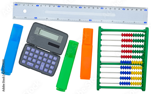 Valokuva  Stationery school supplies: ruler, calculator, abacus and multicolored markers