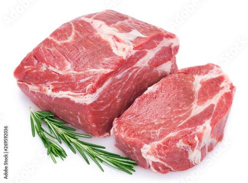 Raw pork on white background