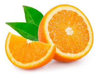 Fresh orange on white background