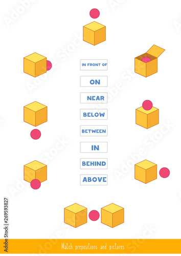 Match prepositions with pictures Wallpaper Mural