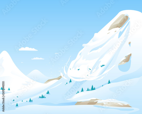 Canvas Snow avalanche slides down in high mountain, natural hazard illustration backgro