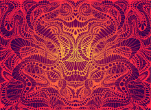 Psychedelic Trippy Colorful Fractal Mandala, Gradient Bright Red, Orange,yellow Colors Outline,on Dark Background. Decorative Abstract Element Pattern.Vector Shamanic Fantasy Background.