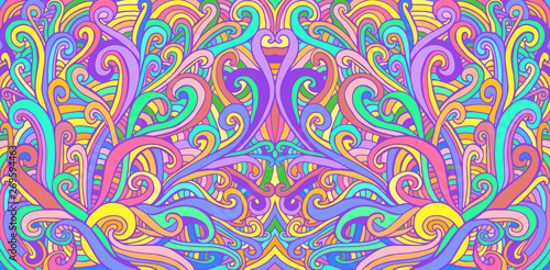 Fotografie, Tablou  Colorful doodle waves abstract psychedelic background