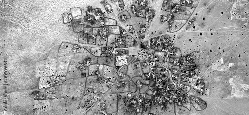 Fototapety, obrazy: abstract naturalism, Black and white photo, abstract photography of landscapes of the deserts of Africa from the air, aerial view, contemporary photographic art,