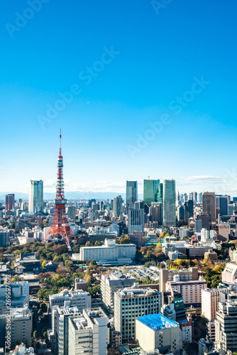 Printed kitchen splashbacks Tokyo Tokyo cityscape - modern aerial view with Roppongi and Minato wards.