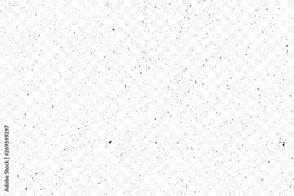 Fototapeta Old grunge black texture. Dark weathered overlay pattern sample on transparent background. Screen background. Vector.