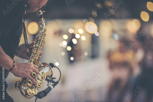 jazz musician playing outdoor concert Canvas Print