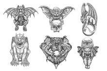 Set Of Gargoyle In Sitting Aggressive Position To Attack.  Human And Dragon Bat Like Demon Chimera Fantastic Beast Creature With Horns Fangs And Claws. Hand Drawn Gothic Guardians At Medieval. Vector