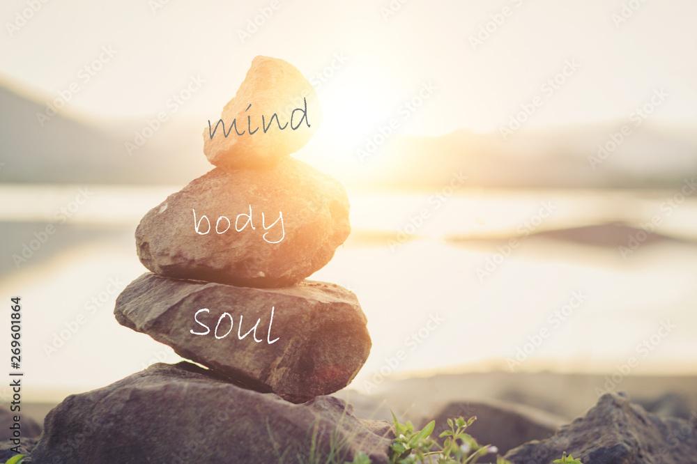Fototapety, obrazy: Holistic health concept of zen stones .Concept body, mind, soul, spirit,