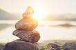 Leinwanddruck Bild - Holistic health concept of zen stones .Concept body, mind, soul, spirit,
