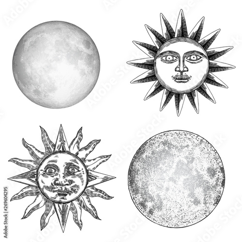 Style set of realistic full moon and human face like