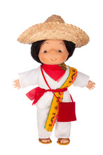 Doll In Traditional Mexican Outfit. Rag Doll In Colorful Traditional Clothes Of Mexican People Isolated On White Background
