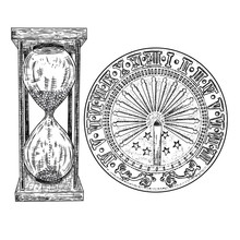 Set Of Sundial Or Sun Clock And Hourglass Or Sand Clock Drawing. Hand Drawn And Isolated. Vector