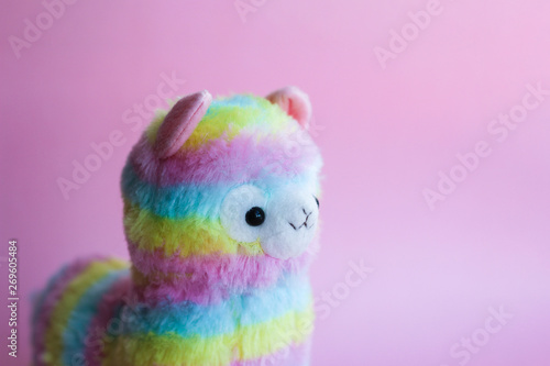 Poster Lama colorful lamp - children's toy, souvenir. beautiful rainbow colors. on a pink background. place for text.