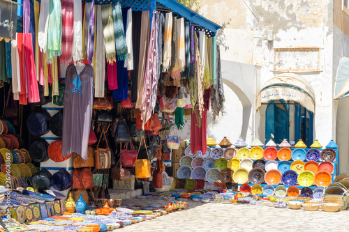 Poster Maroc Decorative Dishes and Clothing for Sale in Houmt El Souk in Djerba, Tunisia