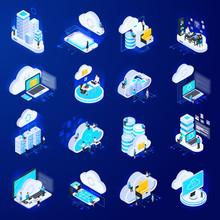 Isometric Cloud Icons Set