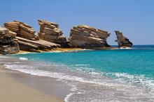 Triopetra, Cliffs Of Platy Sandstone On Crete In A Turquoise Sea