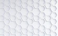 Fondo Abstracto De Patrón De Hexagonos Blancos.Concepto De Tecnologia  Y Redes.