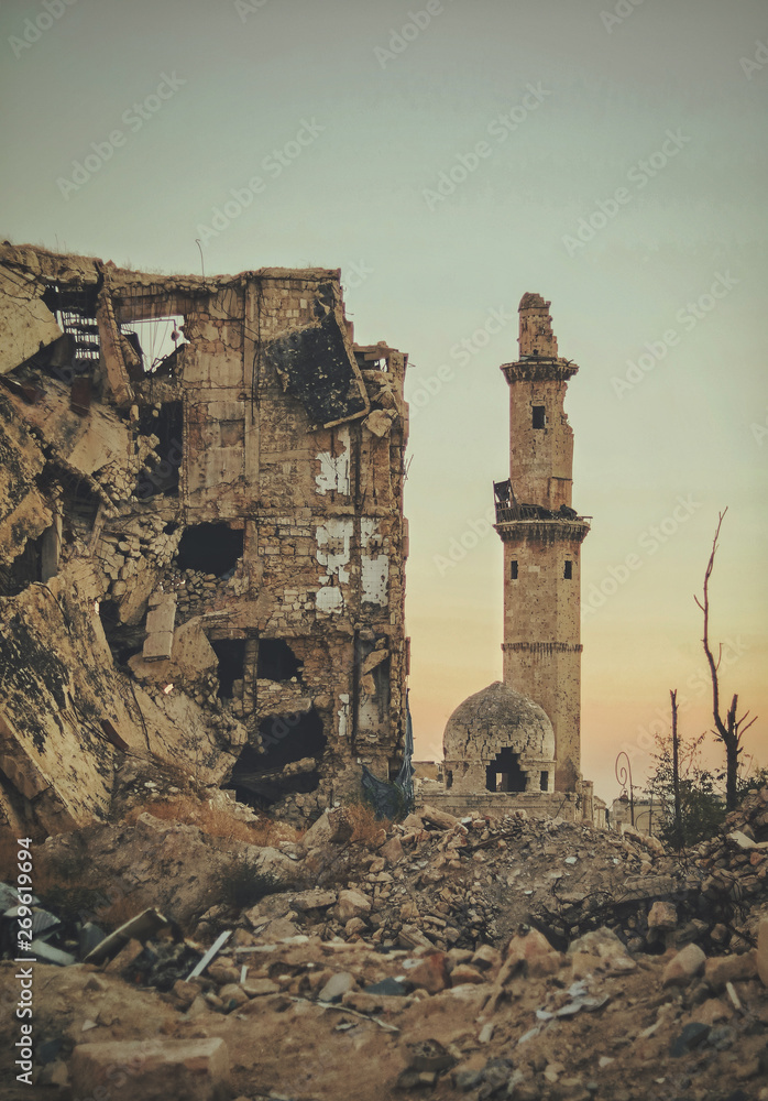 Fototapeta A destroyed mosque in the city of Aleppo in Syria after the war