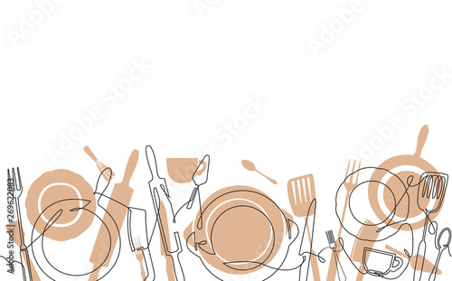 Horizontal Cooking Pattern. Background with utensils. Continuous line drawing. Vector illustration.