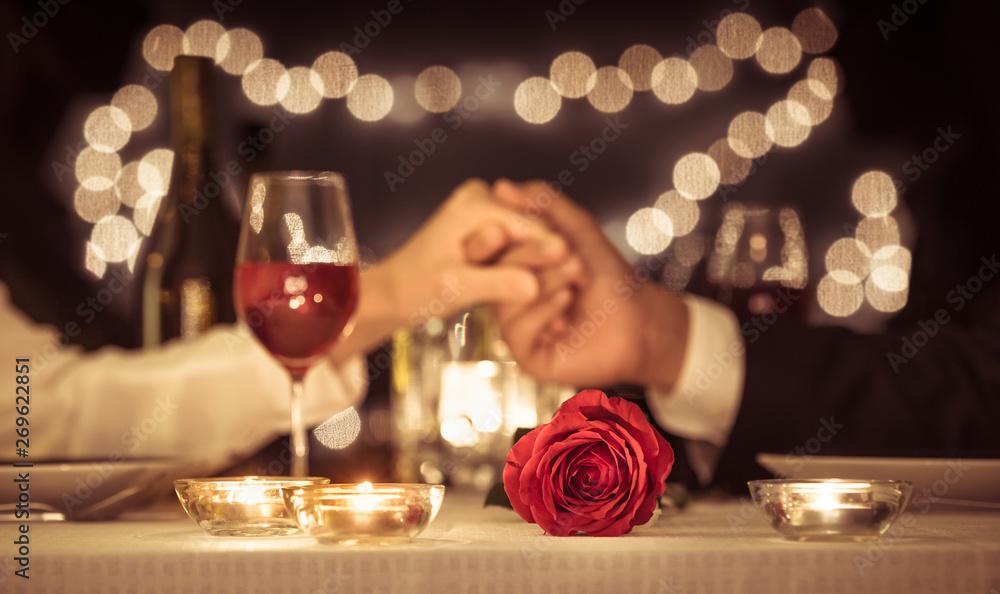 Fototapeta Romantic dinner date, Valentines day, anniversary concepts.