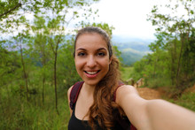 Young Hiker Woman Take Self Portrait In Brazilian Forest