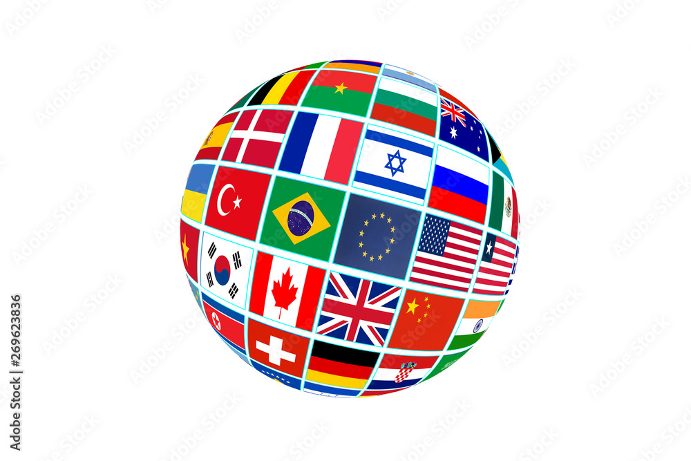 Fototapety, obrazy: Globe with world flags isolated on white background