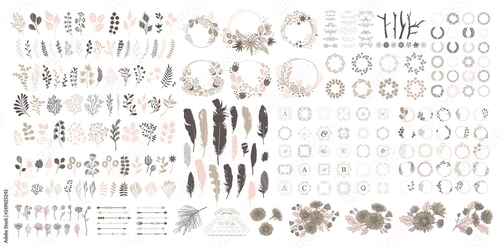 Fototapety, obrazy: Big set with wreath, design elements, frames, calligraphic. Vector floral illustration with branches, berries, feathers and leaves. Nature frame on white background.