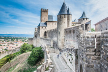 Ramparts Of The Medieval City Of Carcassonne In France