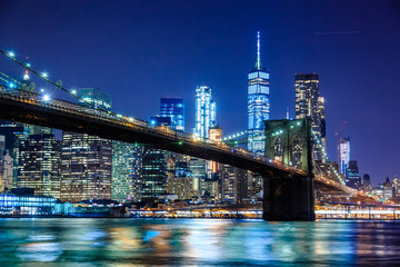 Brooklyn Bridge at Night with Water Reflection, New York City Skyline