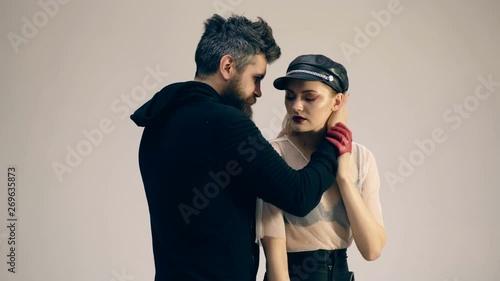 Photo  Young alternative couple on white background
