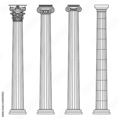 Photo A set of antique Greek and historical columns with Ionic, Doric and Corinthian capitals Vector line illustration