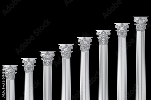 Fotomural a series of Greek, antique, historic colonnades with Corinthian capitals and spa
