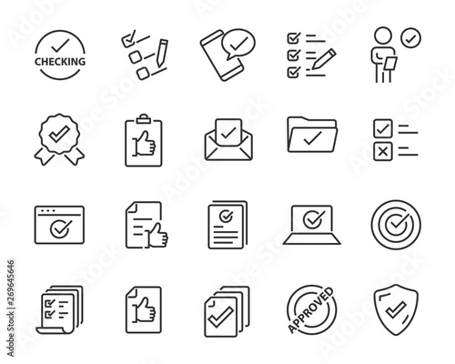 Fotografía  set of approval icons, such as check, list, correct, review, rating