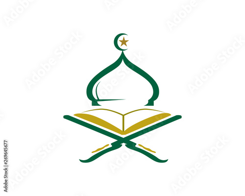 Modern Islamic Mosque And Quran Logo In Isolated White Background Wallpaper Mural