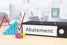 Abatement - Finance/Economy. Folder On Desk With Label Beside Diagrams. Business