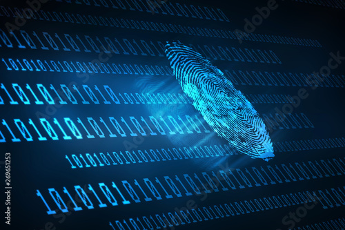 Leinwand Poster Fingerprint Scanning Technology Concept 2d Illustration