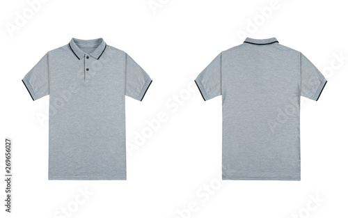 Blank Plain Polo Shirt Heather Grey Color Isolated On White Background Bundle Pack Polo Shirt Front And Back View Ready For Your Mock Up Design Project Buy This Stock Photo And