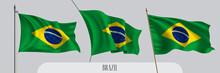 Set Of Brazil Waving Flag On I...