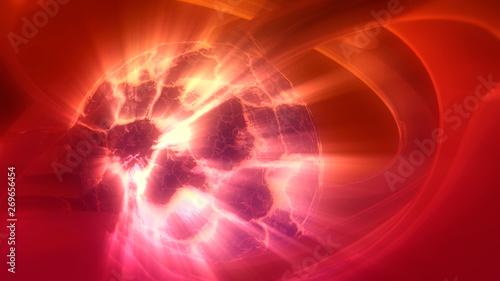 Fotografia, Obraz  Big bang explosion star born. Cracked planet. 3D rendering
