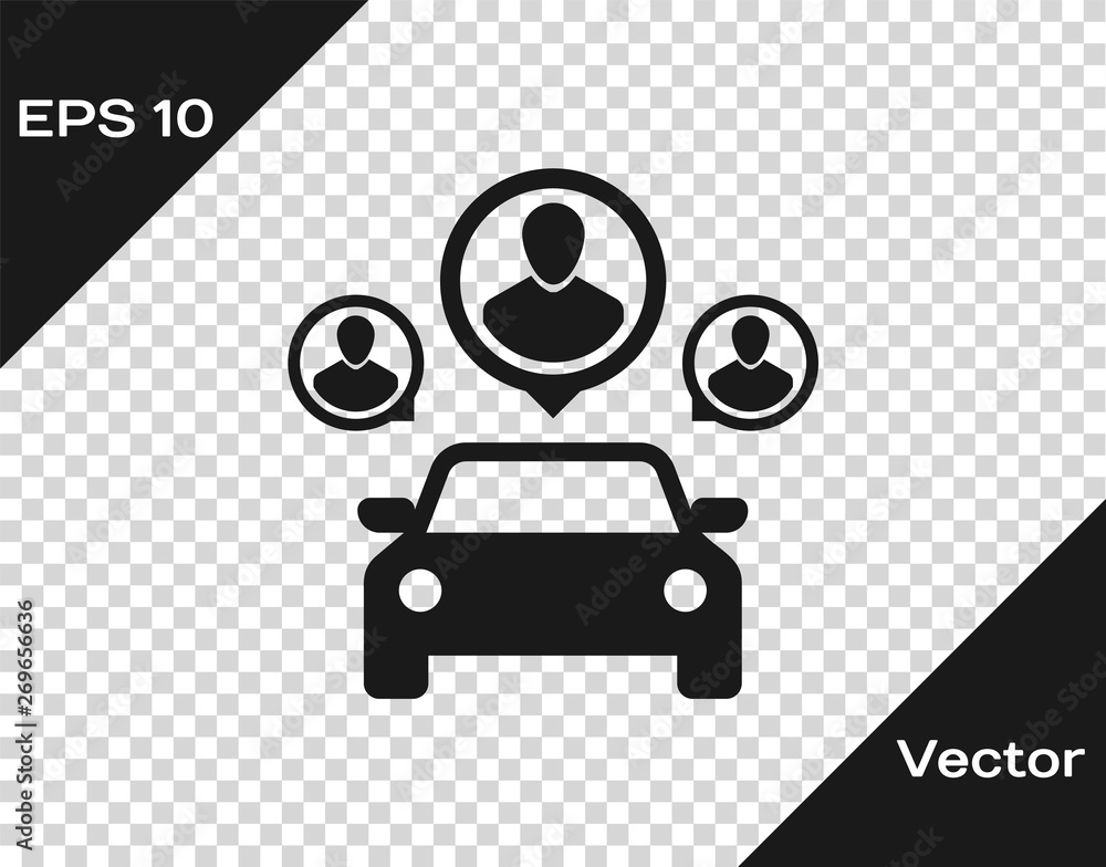 Fototapeta Grey Car sharing with group of people icon isolated on transparent background. Carsharing sign. Transport renting service concept. Vector Illustration