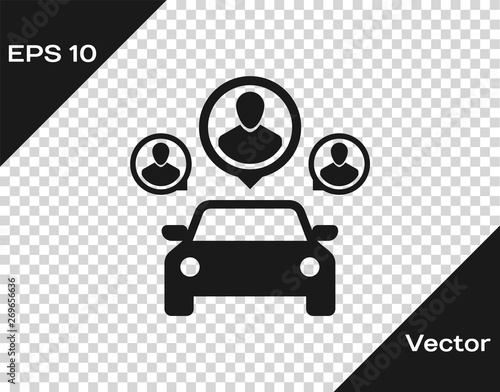 Obraz Grey Car sharing with group of people icon isolated on transparent background. Carsharing sign. Transport renting service concept. Vector Illustration - fototapety do salonu