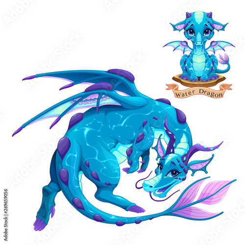 Dragon of Water Element, puppy and adult