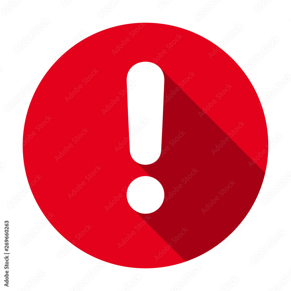 Fototapety, obrazy: Flat round red exclamation point icon, button, attention symbol isolated on white background