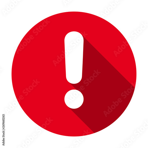 Flat round red exclamation point icon, button, attention symbol isolated on whit Wallpaper Mural