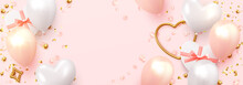 Romantic Background For Wedding, Valentine's Day And Birthday. Realistic Design Element, White And Pink Balloons, Heart-shaped Gift Boxes, Rose Petals. Golden Confetti. Gold Metal Love Heart